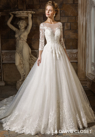 Embroidered Sequined Wedding Dress, Delivery In About 22 Days
