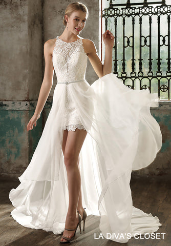 Formal Mini Wedding Dress With Detachable Chiffon Train, Delivery In About 23 Days.