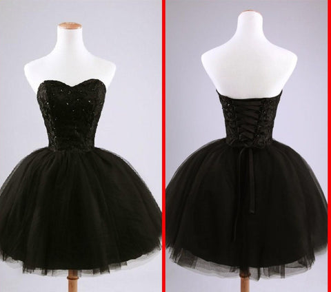 Black Beads Tulle Ball Gown Party Short Mini Cocktail Dress.