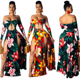 Bohemian Beach Maxi Women's Floral Open Shoulder Long Sleeve Bandage Dress