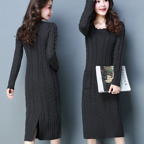 Women's Winter Knitting Slim Knit Long Sleeve Turtleneck Dress 20% Off