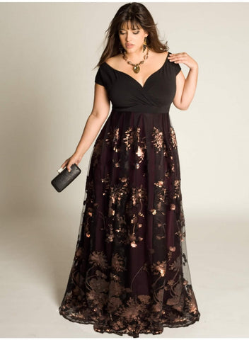Plus Size Evening Dresses Sleeves A-Line Off The Shoulder Formal Dress Sequins Appliqued Floor-Length Special Occasion Gowns