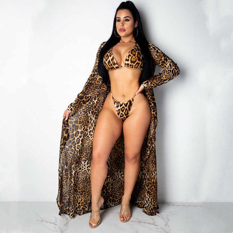 3pcs summer bikini swimwear leopard print Delivery In About 18 Days