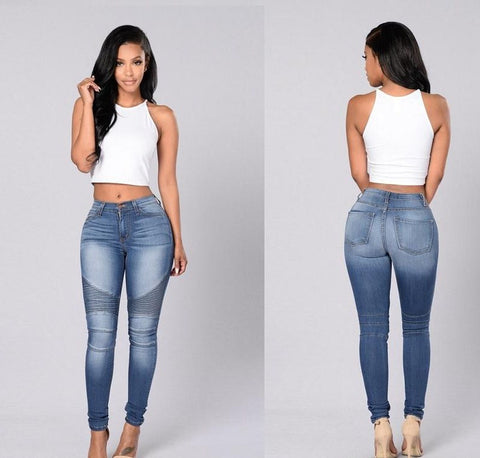Blue Women Pencil  High Waist Jeans,Delivery In About 15 Days