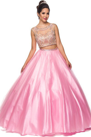 A-Line Formal Two Piece Set Prom Dress Has Jewel And Gemstone,About  28 Days For Delivery