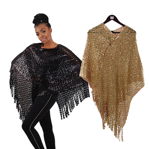 African Sequined Knit Poncho, One Size, Colors - Black, Gold, Delivery In About 8 Days