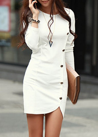 White Asymmetric Hem Button Decorated Sheath Dress, Delivery In 15 Days