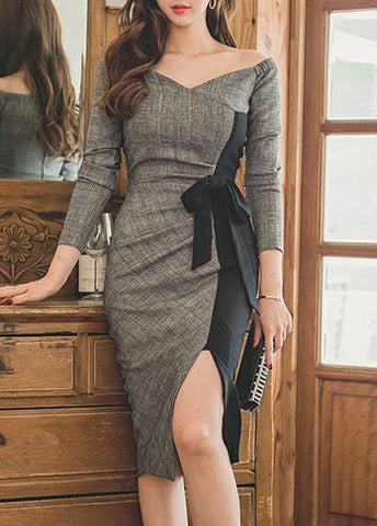 Slit Design Zipper Closure Patchwork Dress, Delivery In About 15 Days