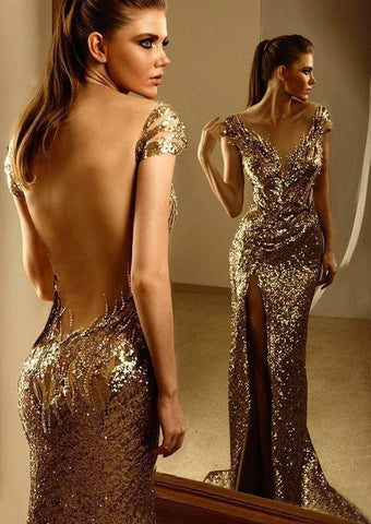 2015 Vestido De Noite Zuhair Murad Like Cap Sleeve Gold Dress.