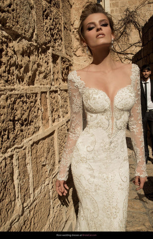 Mermaid Wedding Dress Backless Beads Appliques Tull Bridal Gown Sweep Train.