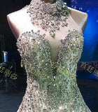 Luxury Couture Ivory Bandage Corset Rhinestones Beads Mermaid Dress, Custom Made