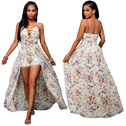 Ladies Ethnic Lace-Up Floral Long Dress, Delivery In About 15 Days