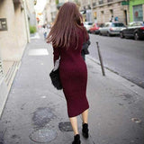 Autumn  new women's knit Semi High Collar Sweater Dress