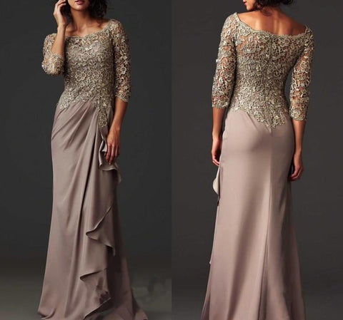 Lace Sheer Mother of the Bride Evening Dress, Delivery In About 14 Days.