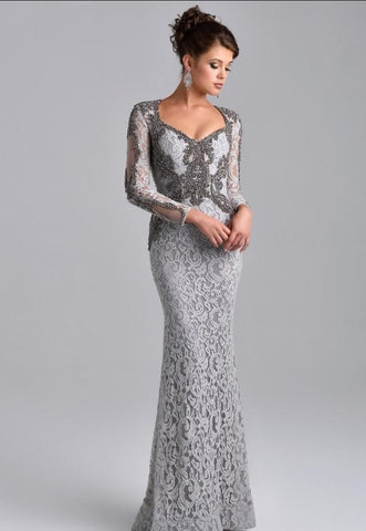 Silver Grey Long Sleeves Mermaid Mother of the Bride Lace Dress, 22 Day Delivery.