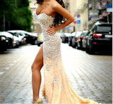 Spaghetti Slit Side Heavy Beaded Crystal Formal Evening Gown.