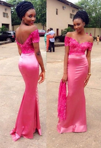 Off Shoulders Short Sleeves Lace Satin Pink Backless Formal  Prom Dresses