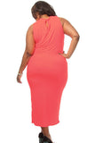 Plus Size Cross Halter Jersey Club Dress, Delivery In About 16 Days.
