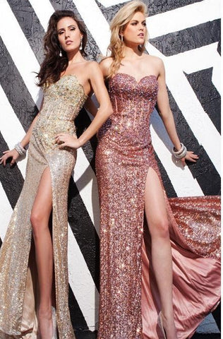 2015  Sequined Beads Champagne Red Prom Dress.