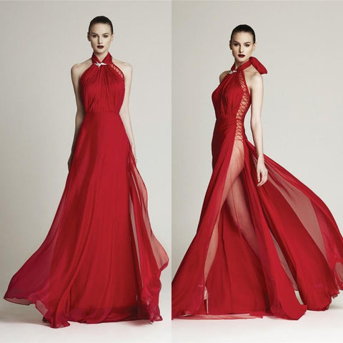 Prom Red Chiffon Evening  High Neck Long Formal Gown, Get Free International Shipping.