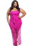 Plus-Size-White-Ruffle-Detail-Strapless-Curvy-Lace-Dress-Delivery-In-16 Days.