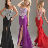 Satin Prom Dress with Beads Crystals Floor-Length Sleeveless Lace-up Mermaid Split Side.