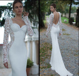 Ivory Lace Illusion Long Sleeve White Open Back Mermaid Gown.