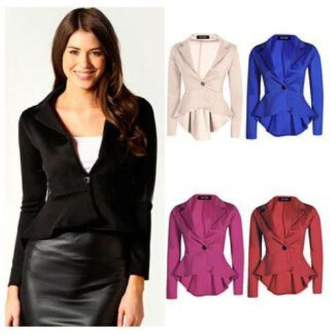 Women Fashion One Button Slim Irregular Length Coat Blazer Suits