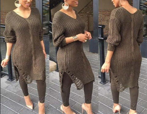 Woman European Long Sleeve Knitted Sweater Dress, Delivery In About 17 Days.