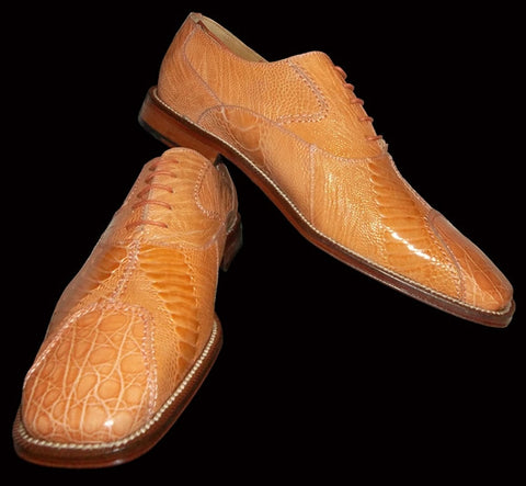 Genuine Crocodile & Ostrich Leg Men Dress Shoe.