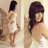 Women's White Lace Backless Straps Cocktail Slim Mini Dress, 10% Off And Free International Shipping