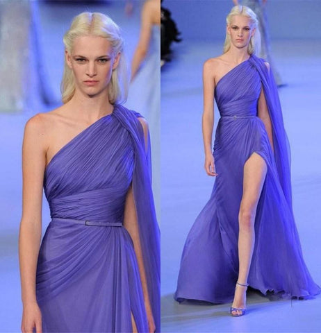 Violet ellie saab Like One Shoulder Runway Fashion Floor Length Evening gown.