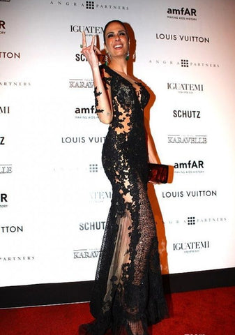 Luciana Gimenez  Like Long Sleeve Side Split Celebrity  Evening Dress.