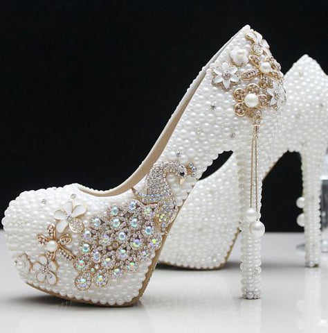 Rhinestone White Wedding Shoes with Stiletto Heel 14 cm Crystal Pearls - White