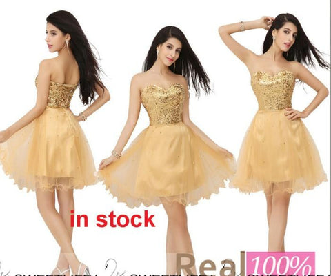 Gold Sequined Homecoming Party Dresses. 10% Off By Using This Code At Check, LCX2401.