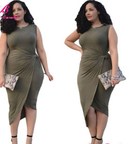 Sensual Knotted Plus Size Cocktail Party Dress, Sizes L To 3XL