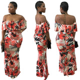 African Sublimation Slash Shoulder Maxi Dress, Delivery In About 13 Days