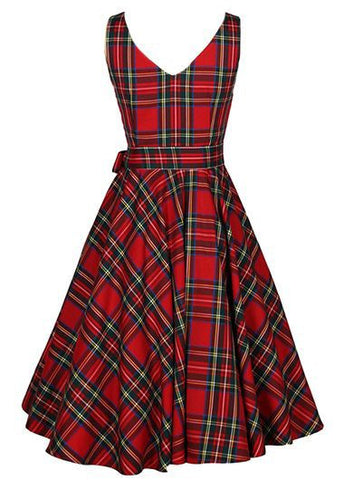 V Back Plaid Print A Line Dress, Delivery In About 15 Days
