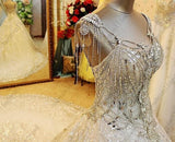 Luxurious Ball Gown, Wedding Dress Off The Shoudler Sparkly Sequins, Delivery In 25 Days