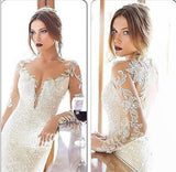 Luxury Sequined Wedding  Long Sleeve Dress.