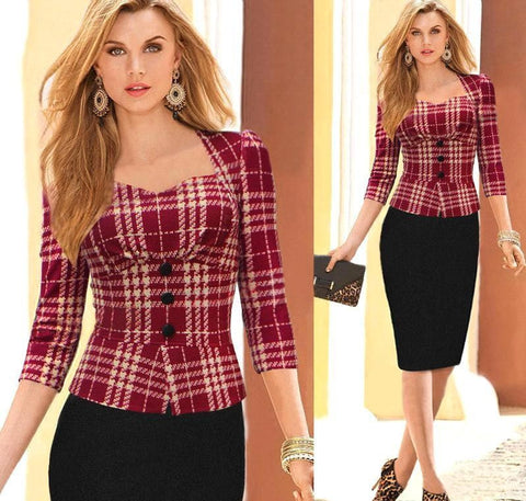 Spring Fall Women Work Dress 3/4 Long Sleeve, 10% Off And Free Shipping