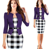 Slim Fit Professional Dress With Belt Long Sleeve, 10% Off And Free International Shipping