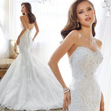 Top quality long lace strapless long wedding gown delivery in about 20 days