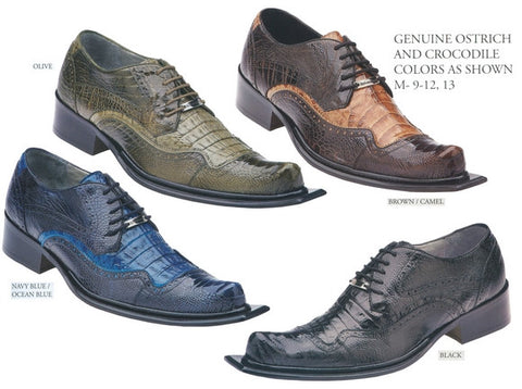 Genuine Ostrich and Crocodile Men Dress Shoe.