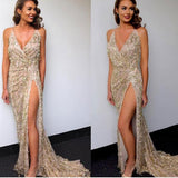 Extraordinary Fashion Women Tassel Shiny Gold Sequin Maxi Dress V-neck Backless Long Evening Party Dress Clubwear Delivery In About 18 Days