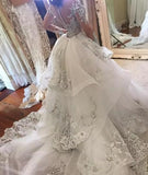 Fantacy Luxury Crystal Wedding Dress With Detachable Over-skirt High Neck