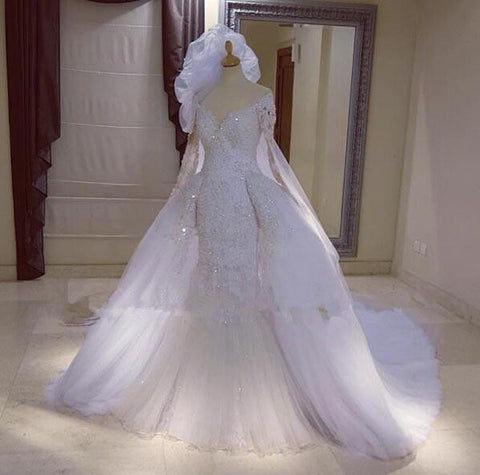 Full Lace Beaded Mermaid Detachable Train Wedding Dress, Delivery In About 25 Days
