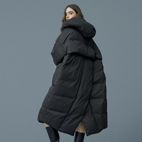 S- 7XL plus size Winter oversize Warm Duck down coat female X-Long Down Warm Jacket Hooded Cocoon style thick warm Parkas F192