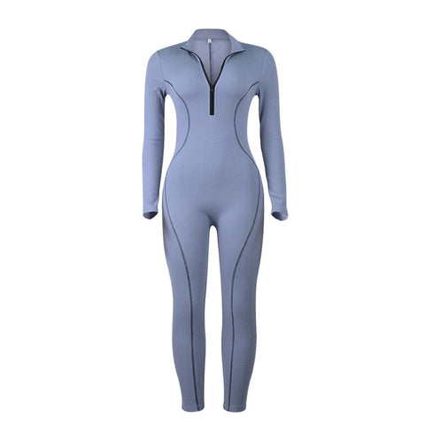 Simenual Fitness Sporty Active Wear Rompers Womens Jumpsuit Zipper Fashion Casual Workout Athleisure Long Sleeve Jumpsuits Push