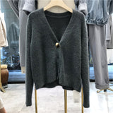 Women Short Wool Cardigan Cashmere Crop Sweater Winter Ladies V neck Jacket Female Loose Casual Thick Autumn Clothes korean knit